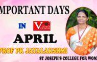 Important Days April Month 2021 | Prof PK Jayalakshmi,St Joseph's College | Visakhapatnam