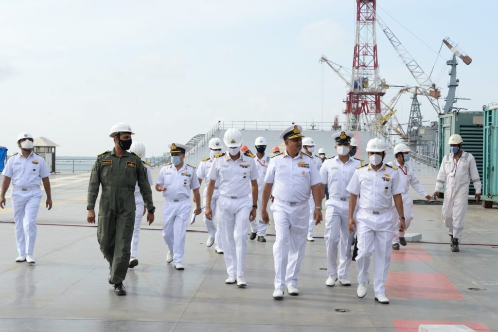 Vizagvision Vice Adm AB Singh, FOC-in-C ENC Reviews Indigenous Aircraft Carrier Vikrant at Kochi